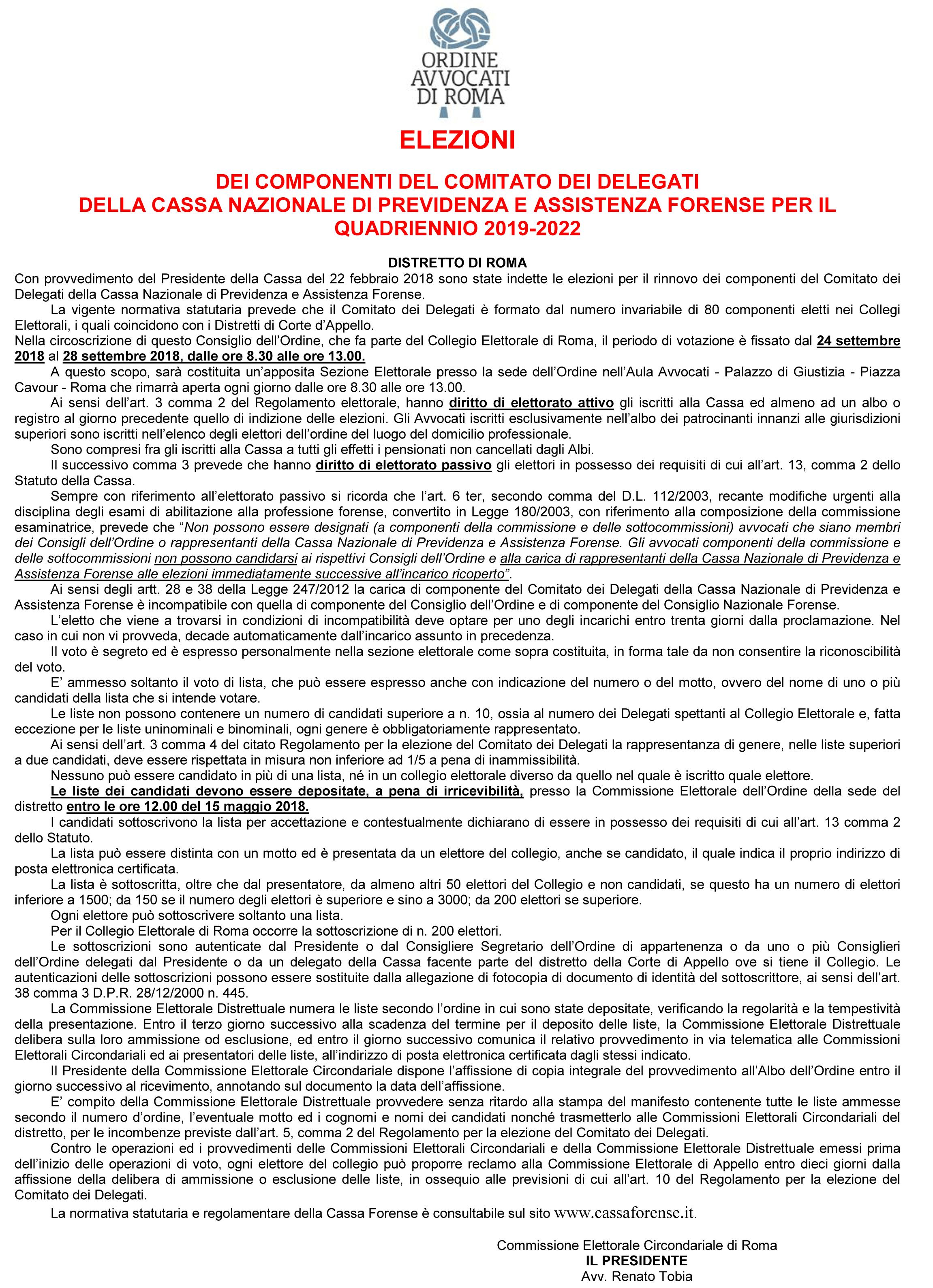 5ef824e081 Elezioni dei componenti del Comitato dei Delegati della Cassa Nazionale di  Previdenza e Assistenza Forense per il quadriennio 2019-2022