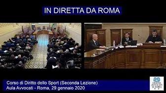 Miniatura del video: CORSO DI FORMAZIONE IN DIRITTO SPORTIVO - SECONDA LEZIONE (Roma, 29.01.2020)