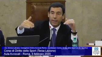 Miniatura del video: CORSO DI FORMAZIONE IN DIRITTO SPORTIVO - TERZA LEZIONE (Roma, 05.02.2020)